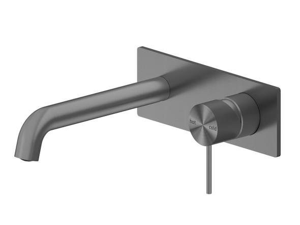 Mecca 185mm Combo Bottom Lever Wall Basin Mixer Tap (Gun Metal Grey) - 14275