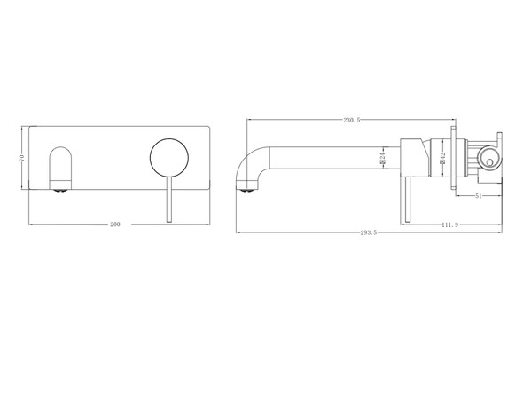 Mecca 230mm Combo Bottom Lever Wall Basin Mixer Tap (Gun Metal Grey) - 14279