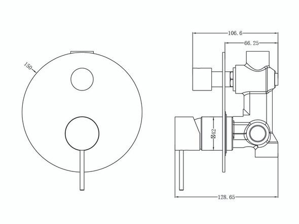 Mecca Diverter Wall Mixer Tap (Matt Black) - 14291