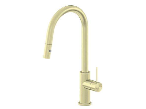 Mecca Pull Out Spray Kitchen Mixer Tap (Brushed Gold) - 14299