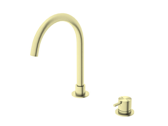 Mecca J Spout Basin Mixer Tap (Brushed Gold) - 14328