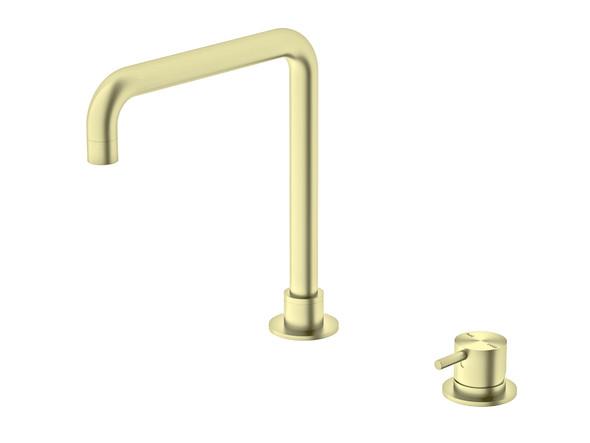 Mecca L Spout (Brushed Gold) Basin Mixer Tap - 14332