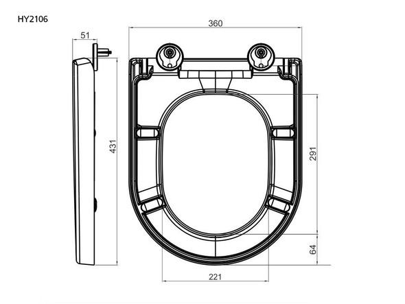 HY2106 Soft Close Seat Toilet (White) - 14333