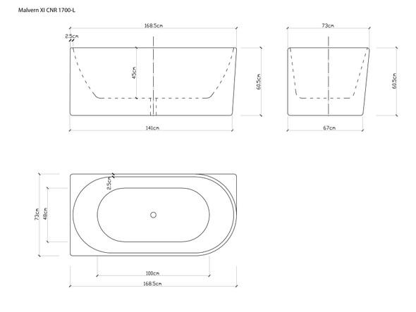 Malvern XI CNR 1700-L Free Standing Bath (White) - 14357
