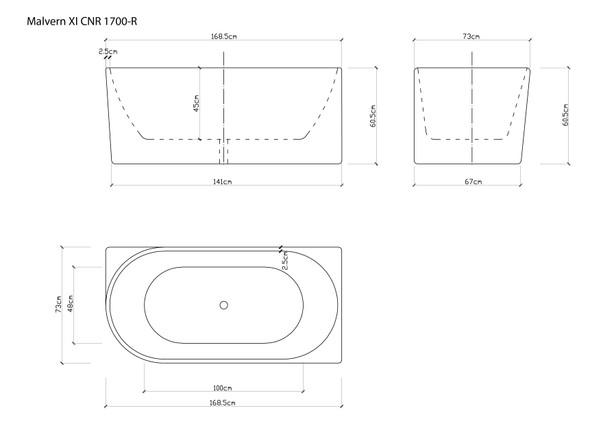 Malvern XI CNR 1700-R Free Standing Bath (White) - 14358