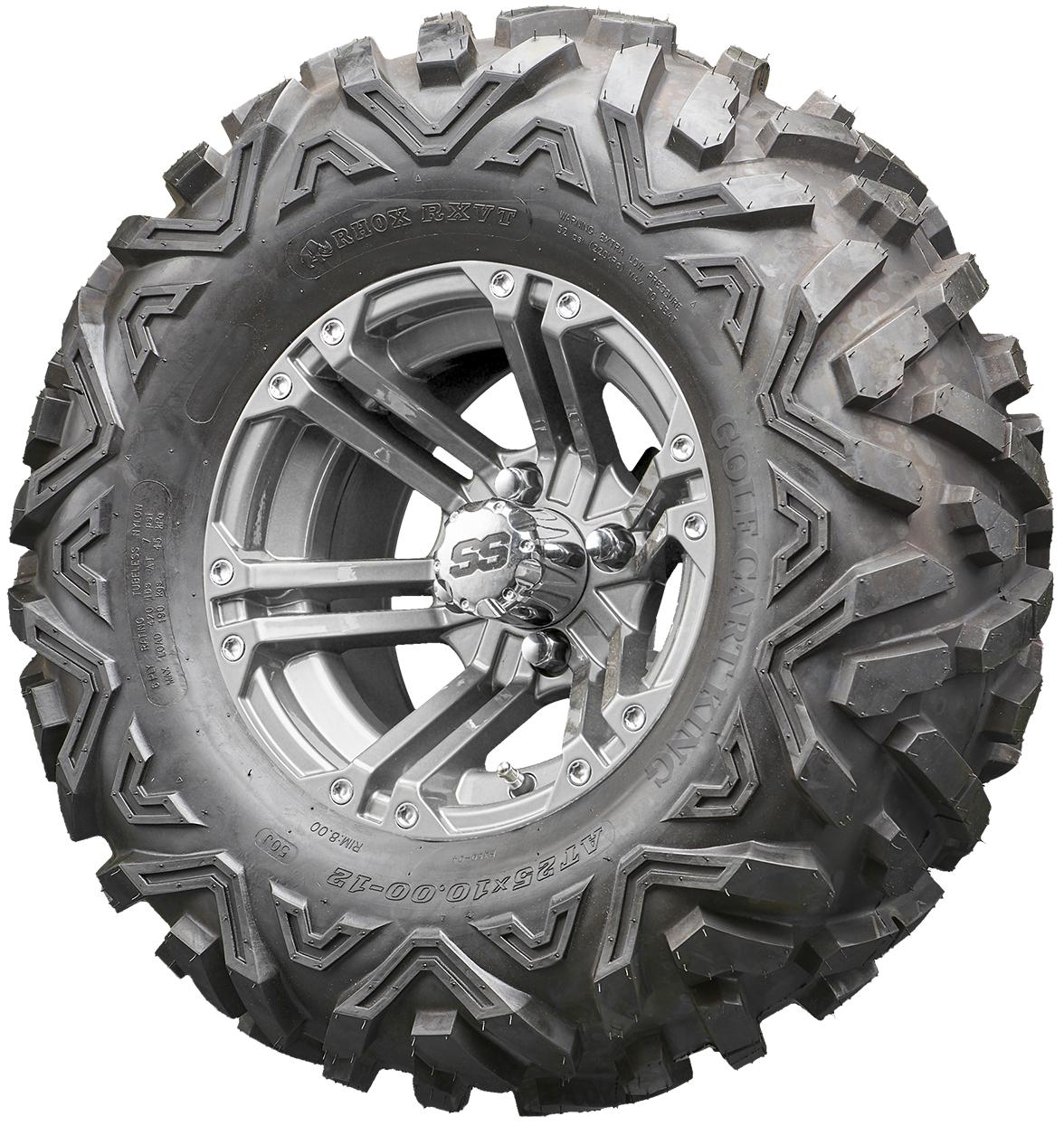 Golf Cart Wheels And Tires Rhox Rx335 Gun Metal 12 Lifted Tires Combo