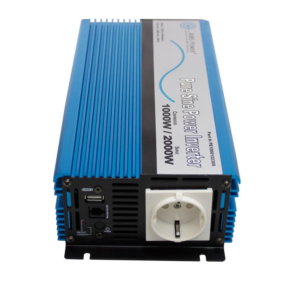 1000 Watt Pure Sine Power Inverter European 12 VDC to 220/230 VAC Front with Euro Plug