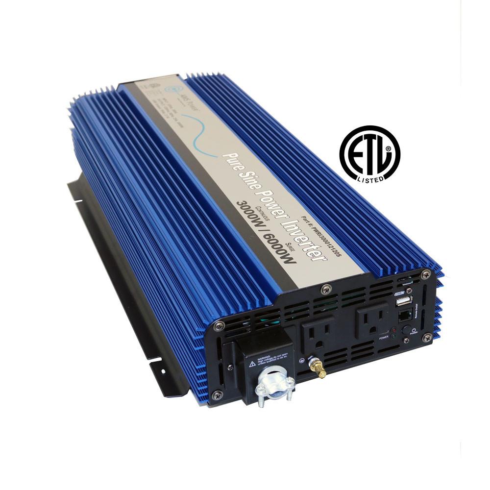 3000 Watt 12 Volt Pure Sine Power Inverter - UL 458