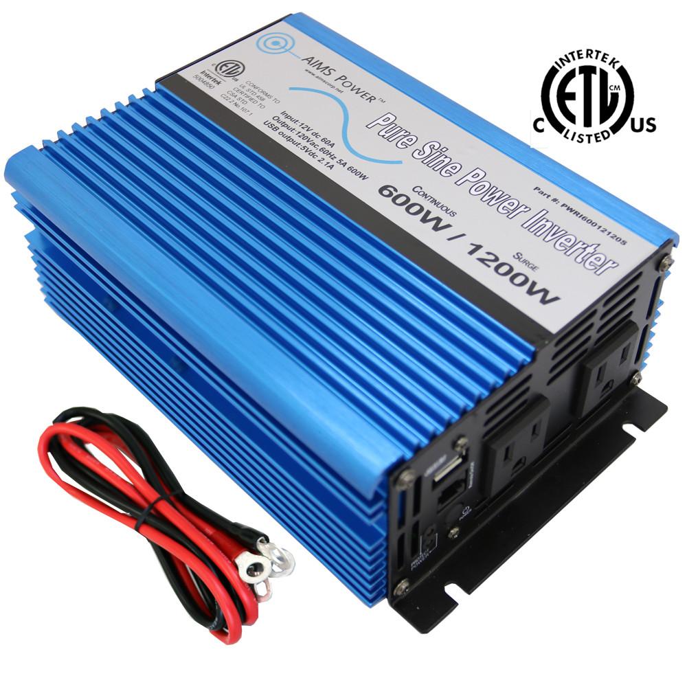 600 Watt Pure Sine Power Inverter 12 Volt - UL 458 Listed