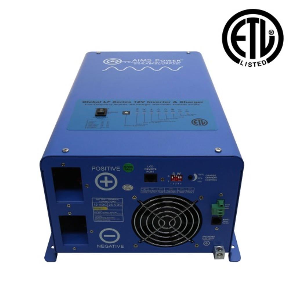 UL Listed 1500 Watt 12 Volt Pure Sine Inverter Charger DC Inputs