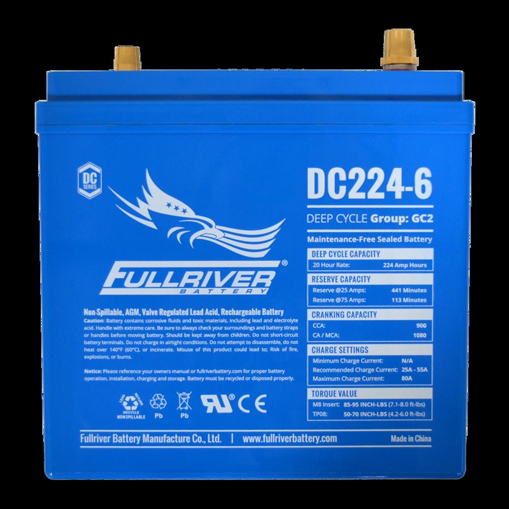 Fullriver DC224-6 6 Volt Deep Cycle AGM Battery Specs