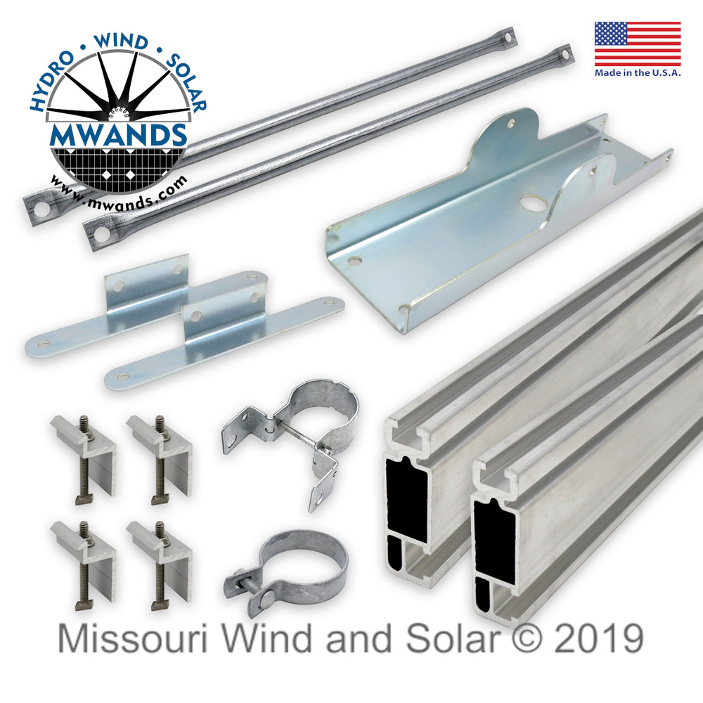 Parts for Single Solar Panel Top of Pole Mounting Kit