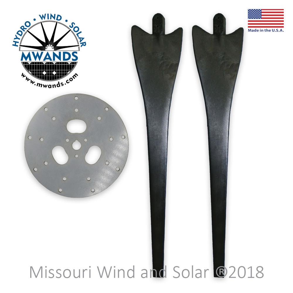 9 Blade Wind Turbine Hub with Black Raptor Generation 4 Blades