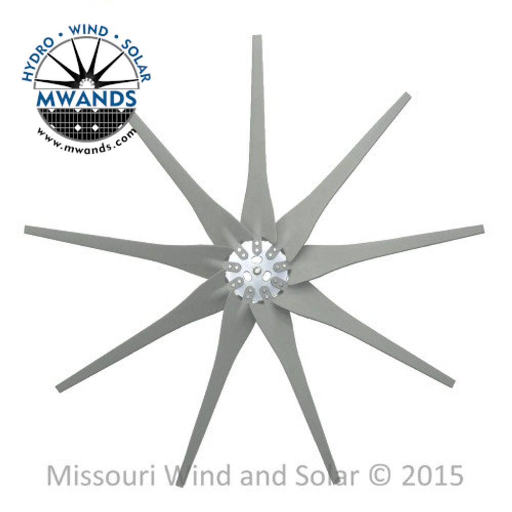 9 Raptor Generation 4 Wind Turbine Blades and Hub - Gray