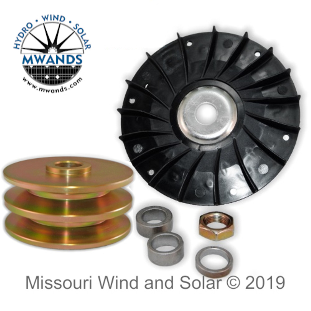 Fan and 80 mm Double Pulley for Permanent Magnet Generators/Alternators