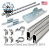 Parts for Large Solar Panel Top of Pole Mounting Kit