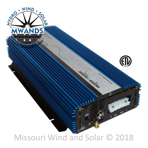 2000 Watt 12 Volt Pure Sine Inverter with Transfer Switch - UL Listed