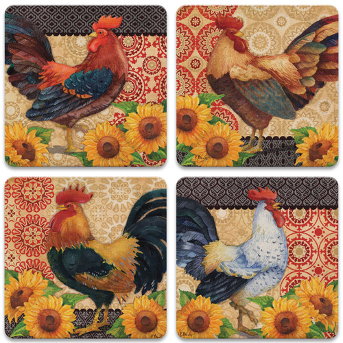 Roosters and Sunflowers