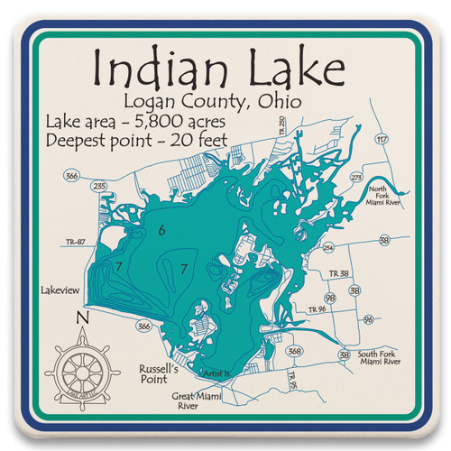 Absorbent stone lake art coasters are perfect for protecting your home surfaces from spills and water rings. All of our lakes are reproduced in beautiful artwork that fully represents each lake down to the finest detail. Cork backing to protect your furniture. Sold in sets of 4. 4.25″ x 4.25″.