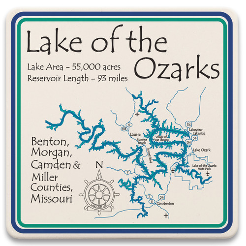 Absorbent stone lake art coasters are perfect for protecting your home surfaces from spills and water rings. All of our lakes are reproduced in beautiful artwork that fully represents each lake down to the finest detail. Cork backing to protect your furniture. Sold in sets of 4. 4.25″ x 4.25″.  *Product image does not display selected lake.