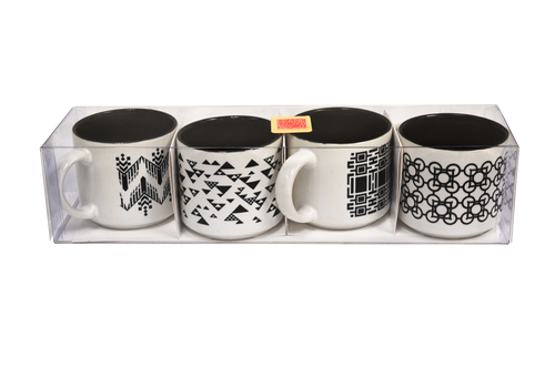 Frank Lloyd Wright © Black and White Espresso Set 6 Oz. Mug Set