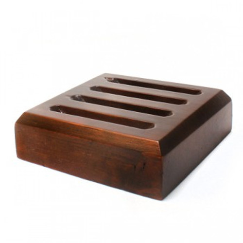 Dark Wood Slotted Coaster Stand - Round Coasters