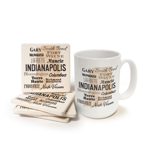 Indiana Cities Mug and Coaster Gift Set