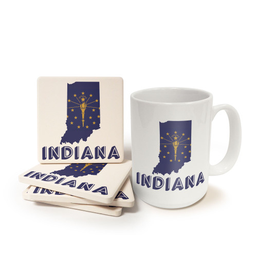 State of Indiana Mug and Coaster Gift Set