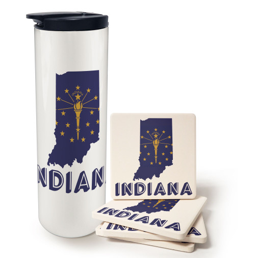State of Indiana Barista and Coaster Gift Set