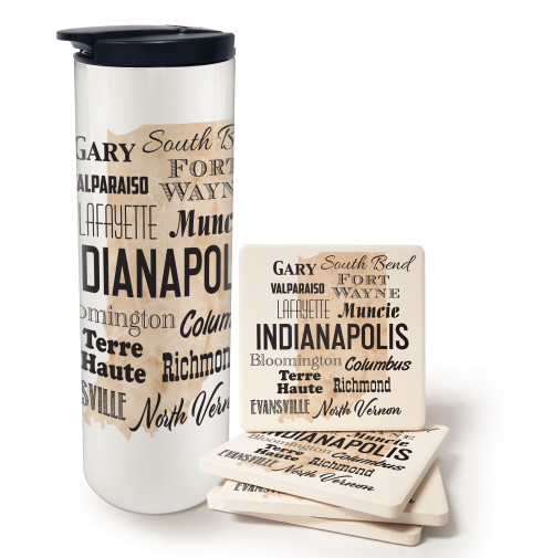 Indiana Cities Barista and Coaster Gift Set