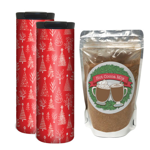 Red Hand Drawn Trees Hot Chocolate Gift Set