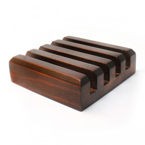 Dark Wood Slotted Coaster Stand - Square Coasters