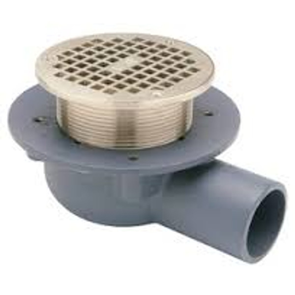 """Zurn Z460B Shallow Body Floor Drain  with Side Outlet & """"Type B""""  5"""" PB Heel Proof Strainer"""