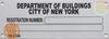 Building registration number sign NEW YORK