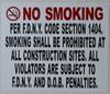 NO Smoking  -DOB NYC Compliance sign
