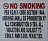SIGN NO Smoking  -DOB NYC