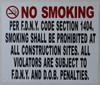 NO Smoking  -DOB NYC