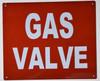 Gas Valve Sign (Aluminium Reflective, RED 10x12)