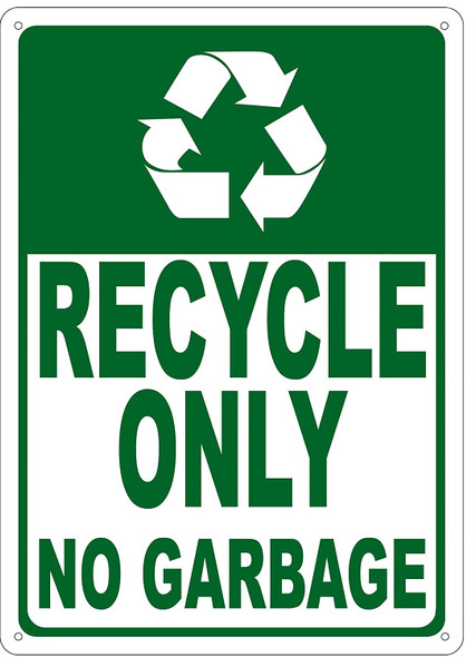 Recycle Only No Garbage Sign