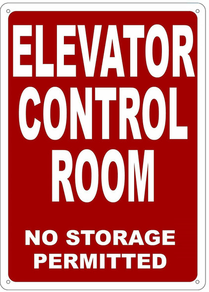 ELEVATOR CONTROL ROOM Sign