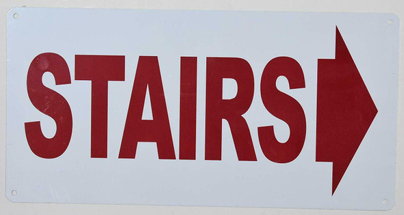 Stairs (Arrow Right) Sign (White Background,Aluminium, )