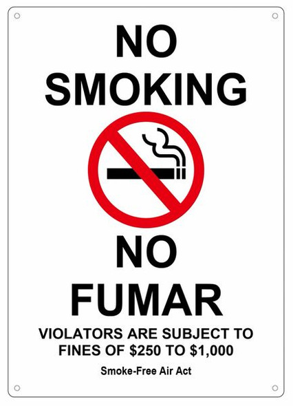 NO SMOKING VIOLATORS ARE SUBJECT TO FINES OF $250-$1000 Smoke free Air Act