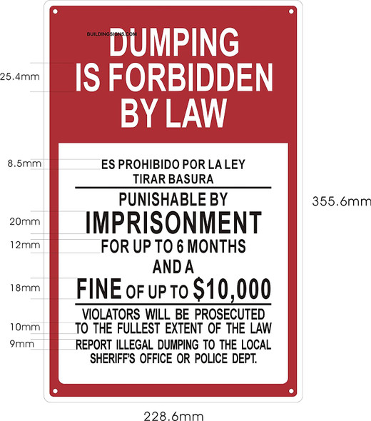 Dumping is Forbidden by Law Sign   Duty , Rust Free,