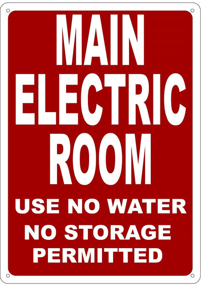 Main Electric Room Sign red