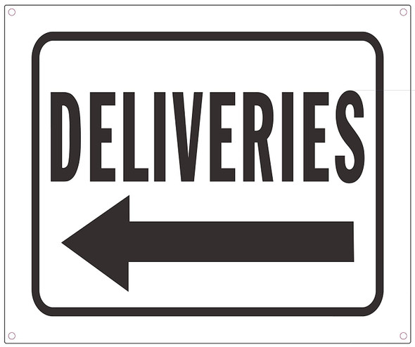 Deliveries Left Arrow Sign