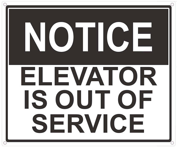Notice Elevator is Out of Service Sign (White Background,Aluminium, )