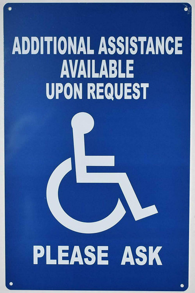 Additional Assistance Available Upon Request SIGN -The Pour Tous Blue LINE -Tactile Signs  Ada sign