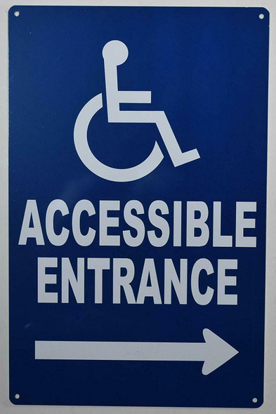 Blue Wheelchair Accessible Entrance Right Arrow Sign-Tactile Signs -The Pour Tous Blue LINE