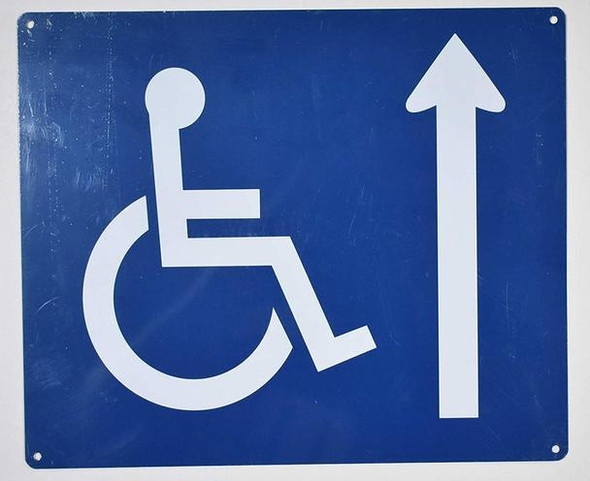Wheelchair Accessible Sign with Ahead Arrow -The Pour Tous Blue LINE -Tactile Signs  Ada sign