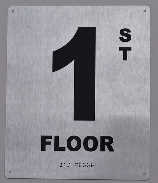 1ST Floor Sign -Tactile Signs Tactile Signs  Floor Number Tactile Touch Braille Sign - The Sensation line Ada sign